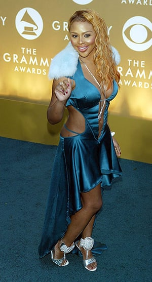 badly dressed Grammys: L'il Kim arrives at the 46th Annual Grammy Awards