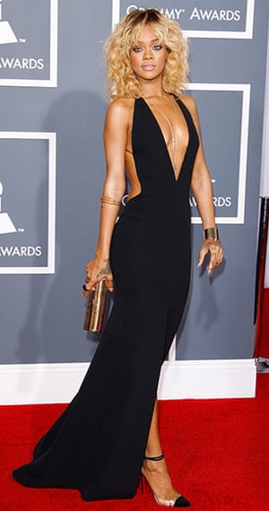 badly dressed GRammy's: Rihanna arrives at the 54th Annual Grammy Awards