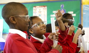 Primary school pupils in a science lesson
