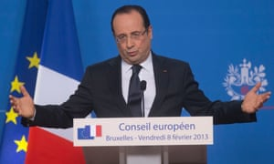 France's President Francois Hollande, gestures as he speaks during press conferences at the end of the EU Budget summit at the European Council building in Brussels, Friday, Feb. 8, 2013