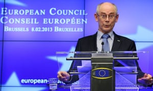 European Council President Herman Van Rompuy speaks during a press conference at the end of the European council meeting, at the European Council headquarters in Brussels, Belgium, 08 February 2013.