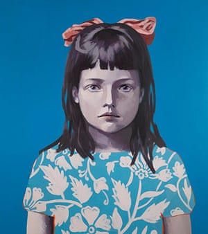 Claerwen James: Girl in Blue with Pink Ribbon 2012