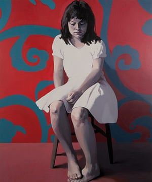Claerwen James: Girl in White against Red and Blue 2012