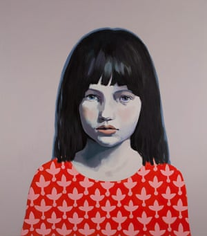 Claerwen James: Girl in Red and Pink against Grey 2012