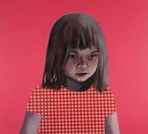 Claerwen James: Girl in Red and White against Pink 2012