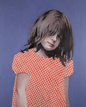 Claerwen James: Girl in Red and White against Blue 2012