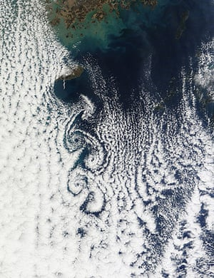Satellite Eye:  Clouds to south of  the island province of Cheju Do