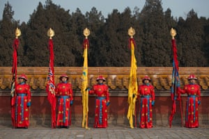Lunar New Year: Performers take part in a traditional Qing dynasty ceremony, in which emperors prayed for good fortune, at the Temple of Earth park in Beijing