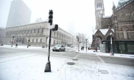 The streets of Boston, Massachusetts were almost empty by Friday evening as a winter snowstorm hit.