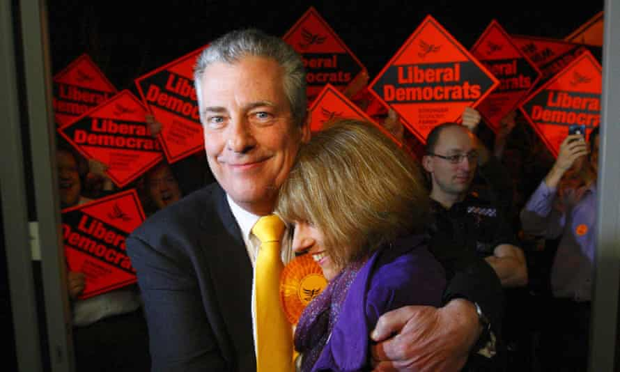 The Liberal Democrat candidate Mike Thornton and his wife Peta arrive to hear the expected declaration at Fleming Park in Eastleigh, Hampshire where he was later declared the winner of the byelection.