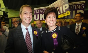 Ukip leader Nigel Farage and candidate Diane James arrive for the Eastleigh byelection count.