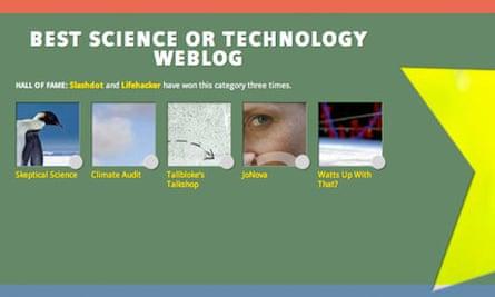 Bloggies 2013 science nominations - screengrab
