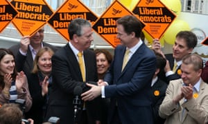 Liberal Democrat candidate Mike Thornton celebrates his win with party leader Nick Clegg at the Hampshire Cricket County in Eastleigh, Hampshire. The Liberal Democrat party managed to retain the seat of ex-Liberal Democrat MP Chris Huhne, however, UKIP managed to beat the Conservatives to second place.