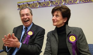 Ukip leader Nigel Farage and local candidate Diane James find much to laugh about as they give a press conference after coming second place in the Eastleigh byelection. Ukip beat the Conservative Party into third place as Farage celebrated his party's best result at a byelection.
