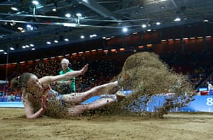 Svetlana Denyaeva of Russia competes in the Women's Long Jump qualification during day one of the European Athletics Indoor Championships at Scandinavium in Gothenburg, Sweden.