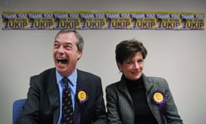 And more laughter all around as UKIP leader Nigel Farage congratulates their candidate Diane James on coming second in the Eastleigh by-election. Photograph: Stefan Rousseau/PA