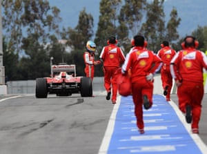Spain's Fernando Alonso Ferrari F138 stops at the end of pit lane. Formula One Testing in Barcelona, Spain.