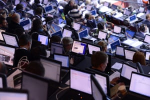 Media members work during the European Indoor Championships in Gothenburg, Sweden. Photograph: Jonathan Nackstrand/AFP/Getty Images