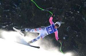 Germany's Viktoria Rebensburg speeds down the course during an alpine ski, women's World Cup super G, in Garmisch-Partenkirchen, Germany.