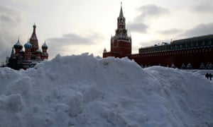 Heaped snow in Red Square, Moscow, 21 January 2013.