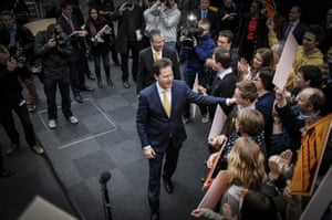 Well done folks: Lib Dem leader Nick Clegg and Mike Thornton congratulate Lib-Dem activists for their help in winning Eastleigh By-election in Eastleigh, Hampshire. Photograph: Rex Features