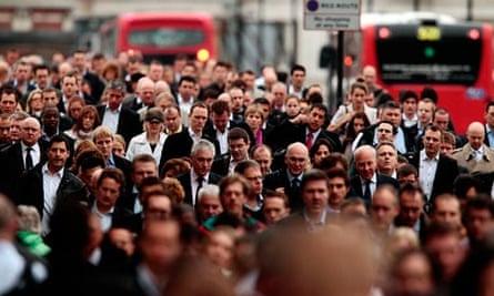 Busy London commuters