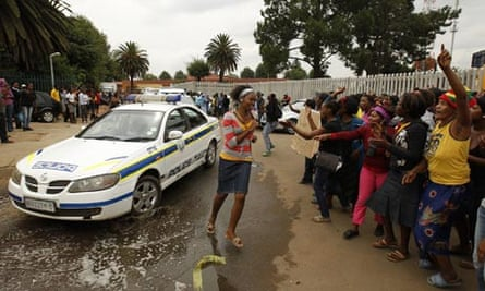 Protesters outside Daveyton police station