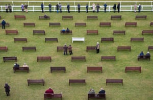 Is this seat taken? Punters spend the day at the horse racing at Newbury racecourse, Berkshire.