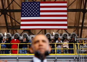 20 Photos: Obama visits a shipbuilding yard in Newport News, Virginia