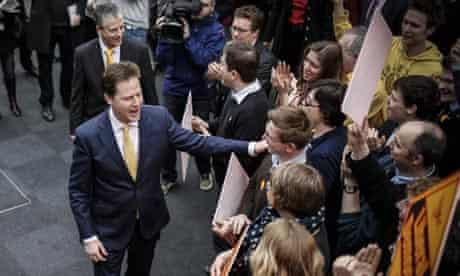 Lib Dem leader Nick Clegg and winning Eastleigh byelection candidate Mike Thornton greet supporters