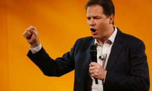 Nick Clegg, answers question during a Q&A session at the party's spring conference in Brighton on Saturday.