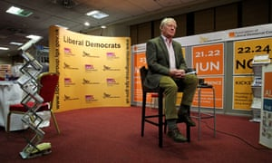 Paddy Ashdown prepares for a media interview during the Liberal Democrat's Spring Conference at the Hilton Brighton Metropole.