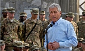 Chuck Hagel speaking to US forces