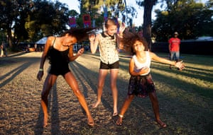 Adelaide festival day 10: Naomi, Lili and Bethan enjoy a splash of water in the sunshine