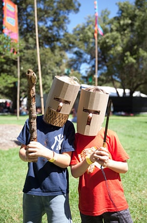 Adelaide festival day 10: Jamie and Jesse dressed in their boxwars outfits