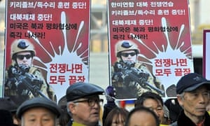 A protest in Seoul against war games being staged by  South Korea and the US.