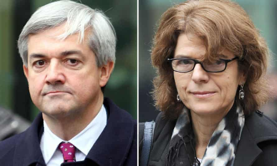 Chris Huhne and his ex-wife Vicky Pryce who are due to be sentenced today for perverting the course of justice after she took speeding points for him in 2003.