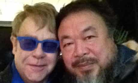 Ai Weiwei with Elton John