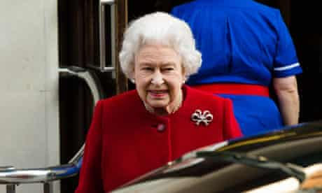 The Queen leaving hospital after being admitted with gastroenteritis