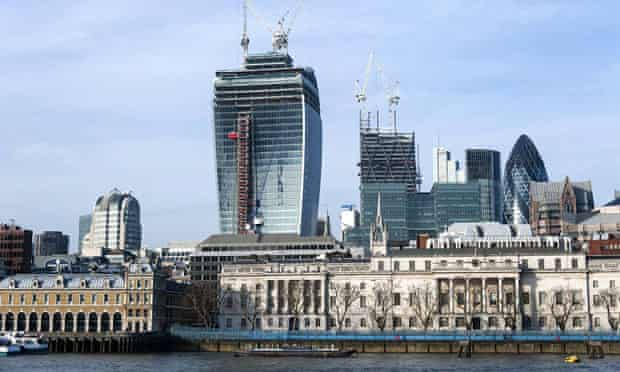 The skyline of the City of London, including the 'walkie talkie' building under construction