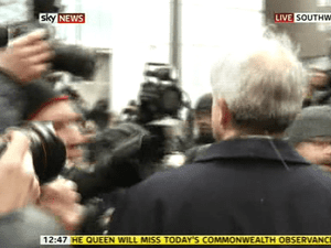 Chris Huhne at Southwark crown court.