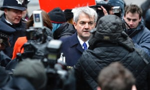 Chris Huhne, Britain's former energy secretary arrives for sentencing at Southwark Crown Court.