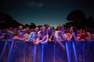 Womad Monday: The crowd wait for The Herd to perform