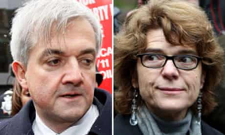 Chris Huhne and Vicky Pryce arrive at Southwark Crown court