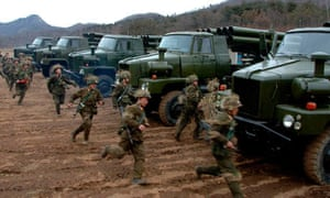 North Korean soldiers attend military training