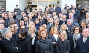 The People of Freedom party protests in solidarity with Silvio Berlusconi near the Palace of Justice in Milan. Photograph:  EPA/Matteo Bazzi