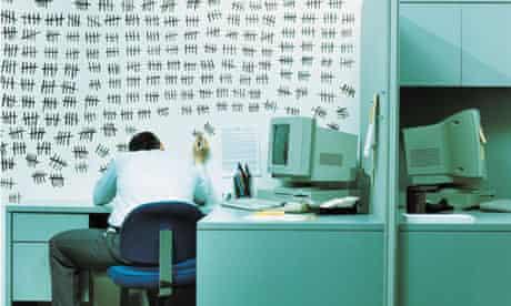 Office worker marking on wall