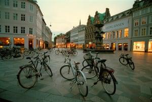Bicycles at dusk in Copenhagen.