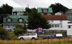 Falkland Islands: A vehicle decorated with flags in Stanley
