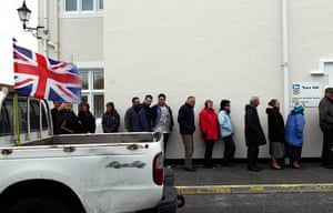 Falkland Islands: People line up to cast their votes at the Town Hall
